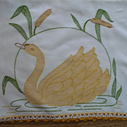 Huck Embroidered Swan Towel