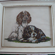 Silk Gauze Petit Point Framed Cocker Spaniels Picture