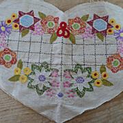 SOLD Vintage Heart Shape Embroidered Linen