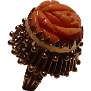 SALE 14K Coral Flower Ring