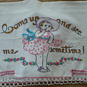 SOLD Come Up and See Me Sometime Embroidered Towel - Red Tag Sale Item