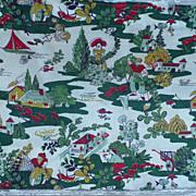 Vintage Print Bark Cloth Piece