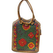 SOLD Hippy 60's Floral Tooled Leather Purse