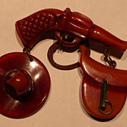Bakelite Western Gun Cowboy Hat Saddle Pin