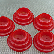 Five Thick Red Bakelite Buttons