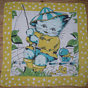 SOLD Kitty Fishing Child's Handkerchief