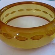 Reverse Carved Applejuice Bakelite Bracelet