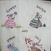 SOLD Hand Embroidered Seasons Guest Towel