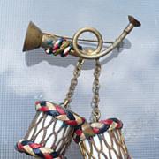 Patriotic Dangling Drums Pin