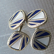 SALE Cufflinks Two Sided Swank Art Deco Mother of Pearl & Enamel