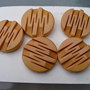 Five Deep Carved Bakelite Buttons