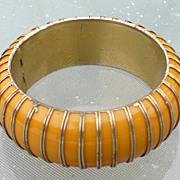 Gold Clad Cream Bakelite Bracelet