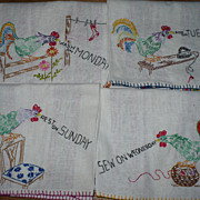 7 Days of the Week Hand Embroidered Rooster Towels