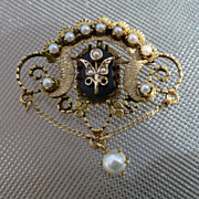 14K Onyx Pearl Pin Victorian Style