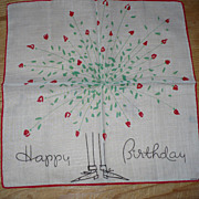 SALE Dessin Depose Happy Birthday Handkerchief