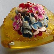 Applejuice Floral Bakelite Hinge Bracelet