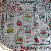 SOLD 1966 Calendar Handkerchief