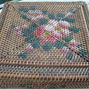 Victorian Hand Woven Painted Wicker Box
