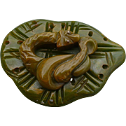 Bakelite Snake Green Pin