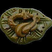 Bakelite Snake Green Pin
