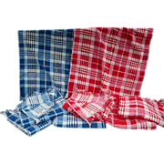 Plaid Towels Red & Blue
