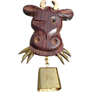 Wooden Cow Pin with Bell