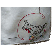 Hand Embroidered Dog Table Cloth