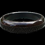 Black Carved Bakelite Bracelet