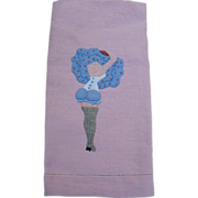 SOLD Pink Naughty Applique Towel
