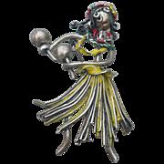 Sterling Hula Girl Pin
