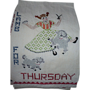 Thursday  Embroidered Towel