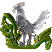 Bakelite Lucite Rooster Pin