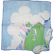 SOLD Blue Child's Handkerchief Boat with Animals