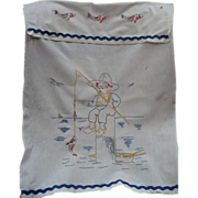 Fishing Boy  Embroidered Over Towel