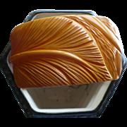 Cream Leaf Carved Wide Bakelite Bracelet