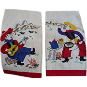 SOLD Embroidered Applique Cowboy Towels