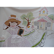 Embroidered Girl Lamb Hanging or Cover