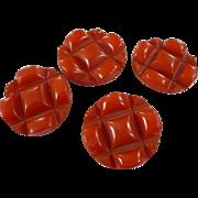 Orange Bakelite Buttons