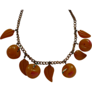 Bakelite Yellow Cherry Necklace