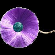 Purple Fiber Flower Pin Hattie Carnegie