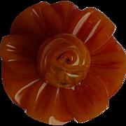 Carved Bakelite Flower Button