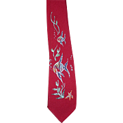 Hand Painted Fish Tie