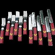 SALE Bakelite Chevron Flatware 12 Pieces