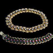 Enamel Floral Necklace & Bracelet