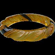 Carved Applejuice Bakelite Bracelet