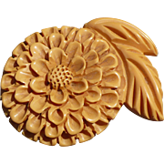 Deep Carved Bakelite Flower lip