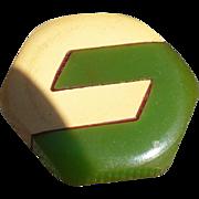Green Cream Bakelite Button