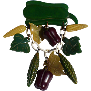 Pepper Eggplant Bakelite Vegetable Pin