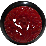 Carved Red Floral Bakelite Pin