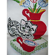 SOLD Applique Embroidered Cat Towel